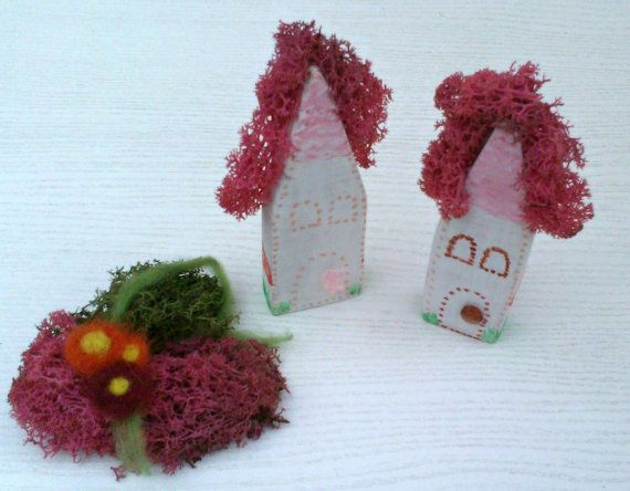 Fairy Houses  - Wooden Houses with Pink Moss