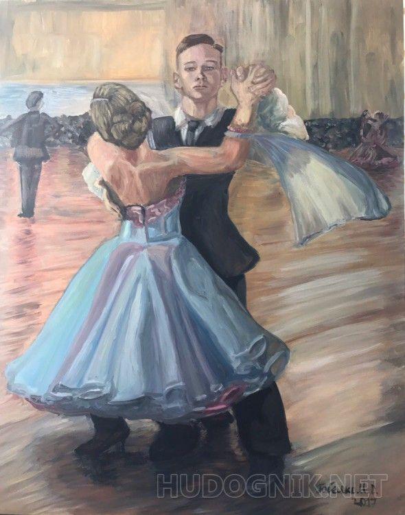 Венский вальс Мой брат занимается танцами и мне всего лишь один раз удалось побывать на его выступлении, и этого одного раза хватило, чтобы у меня возникло желание написать эту картину