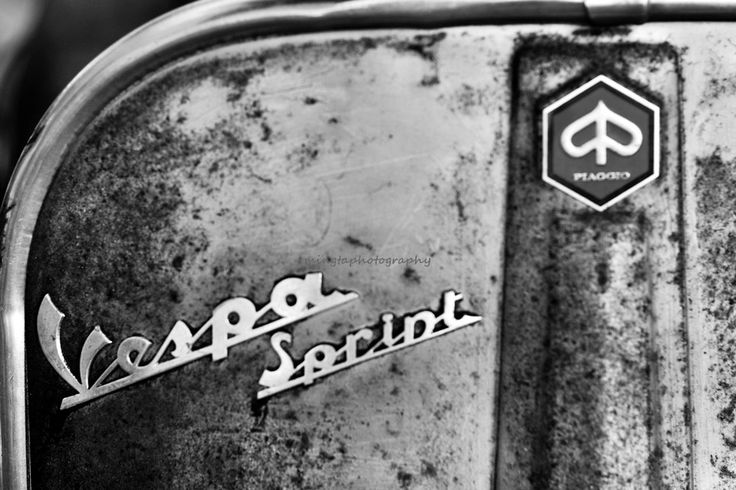 Italian Vespa in BW - Scooters motocycle old courtyard spring summer ride blue for him for dad modern home decor black and white photography. $30.00, via Etsy.