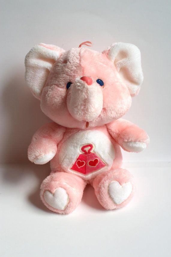 LOTSA HEART ELEPHANT, 1984 Original Care Bear Cousin, Pink Elephant with weight on stomach, plush Stuffed Animal, Kenner Care Bear