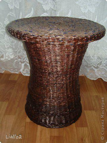 Поделка изделие Плетение Плетеный столик Трубочки бумажные фото 1