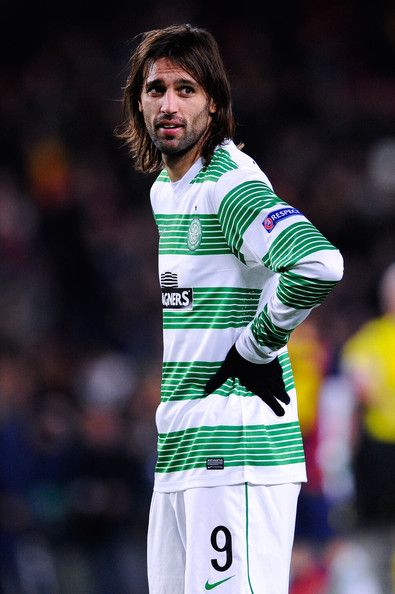 Giorgios Samaras of Celtic FC looks on at the end of the Champions League Group H match between FC Barcelona and Celtic FC at Camp Nou on December 11, 2013 in Barcelona, Catalonia.