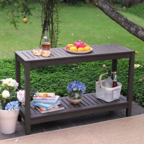 Outdoor Console Table Buffet Patio Garden Wood Gray Sideboard Serving Furniture #OutdoorConsoleTable