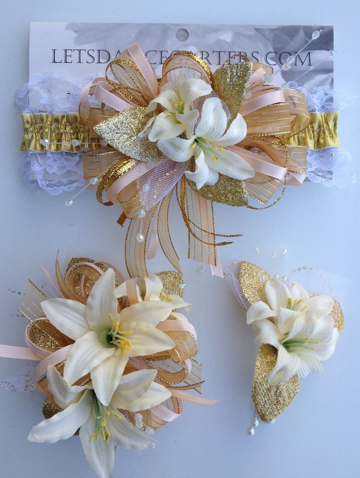 peach and gold prom corsage and prom garter  letsdancegarters com