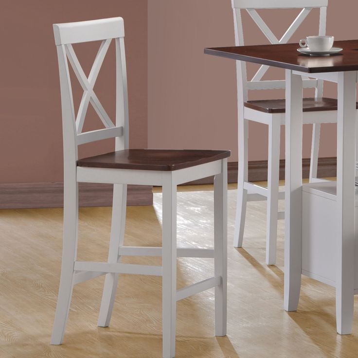 monarch specialties inc counter height bar stools in white and walnut set of 2