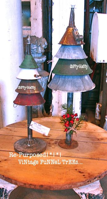 ChiPPy! - SHaBBy!  RE-PURPOSED... Christmas Funnel Trees... 2015