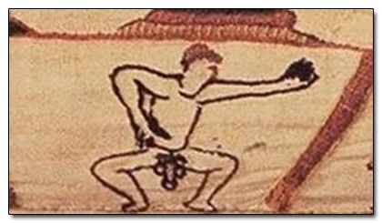 "Nobody knows who the hell this naked guy pointing at his swinging man-salad is, or what he's doing there at the bottom of the tapestry. It's like whoever made it simply thought, ""This son of a bitch is 70 meters long, who the hell is going to notice one tiny naked boner?""m"