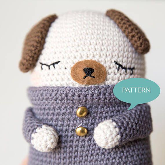 Pug crochet pattern, design by Sweetamigurumidesign