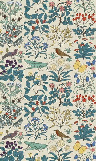 """This would make sweet wallpaper...if I ever applied wallpaper in my life -- """"Apothecary's Garden"""" print by CFA Voysey, c. 1926."""