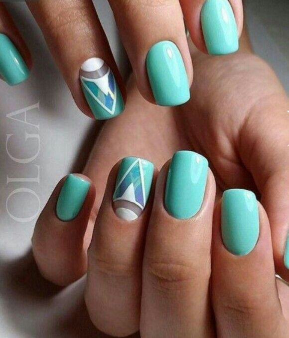 Teal nails perfect for spring!