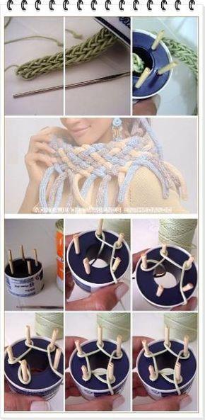Como hacer una Bufanda-Cuello Trenzado con Tricotin - Spool knitting Shawl by helena