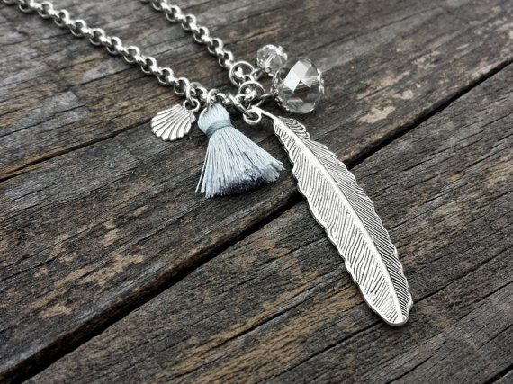 Feather Silver Necklace, Tassel Necklace, Stainless Steel Chain, Feathers, Tassel, Crystals, Shell, Boho Chic Jewelry - Handmade
