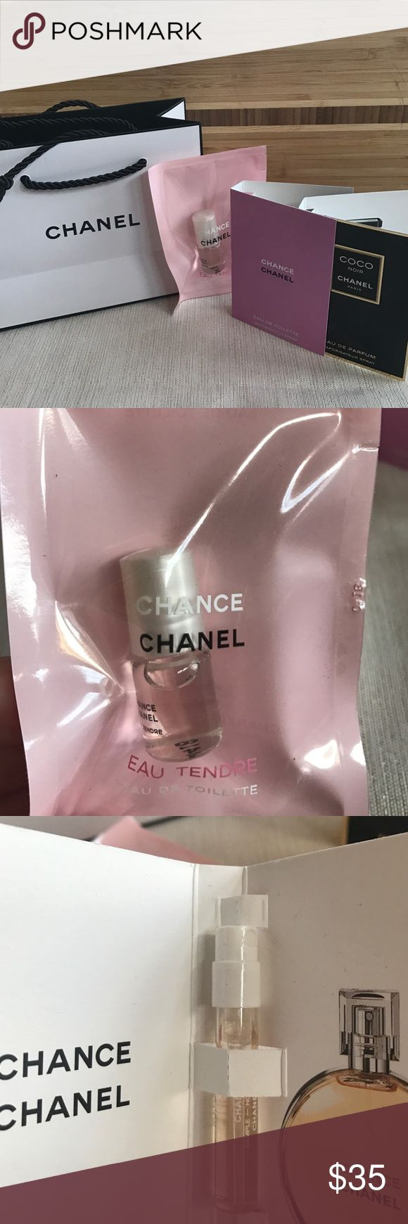 Chanel travel kit Travel size Chanel Chance Eau Tendre in travel size roller ball, sample of Chanel Chance, sample of COCO NOIR, complete with iconic Chanel bag with Chanel tissue paper. So feminine! Perfect stocking stuffer or gift for yourself 😍 CHANEL Other