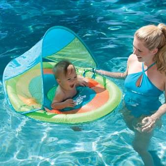 Baby wants to play in the pool too! The Baby Spring Float Sun Canopy provides sun protection, a play space for toys, dual inflation and a low seat for enhanced security. Three colorful designs to choose from.