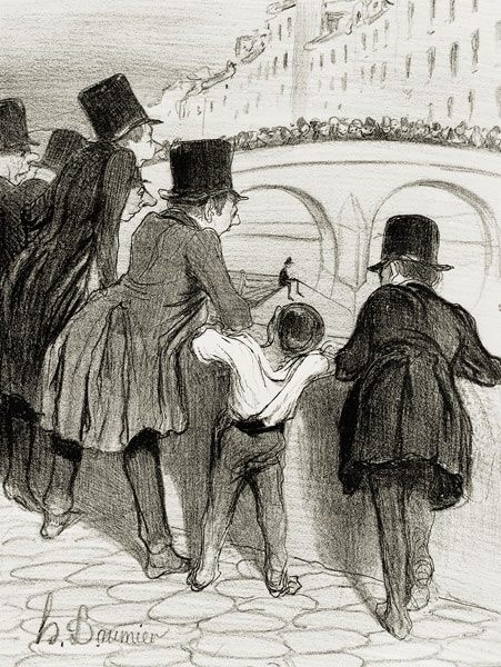 Honoré Daumier. Parisian crowd of onlookers (badauds) watching over events on the river. 1839.