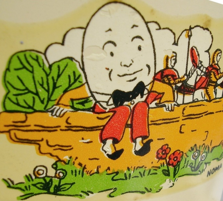 Vintage Christmas Tree Stand ~ Close-up of Humpty Dumpty Litho