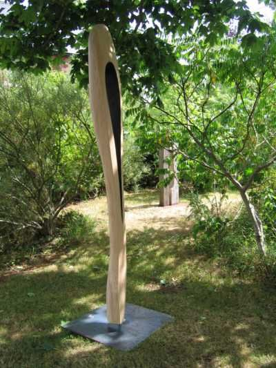 A sculpture titled 'Through the Eye (Tall abstract Needle carved Wood statues/carvings)' by artist Jeremy Palmer in the category Garden Or Yard / Outside and Outdoor Sculptures. This sculpture has the dimensions of 220 cm, the sculpture is sculpted from a medium of 'French Oak'. It is available to buy.Carved Wood Abstract Needle Vertical Woodland or Outside in the Garden Sculptures, for sale or Standing Wooden carving Abstract Thin Focal Point Needle statues For Sal...