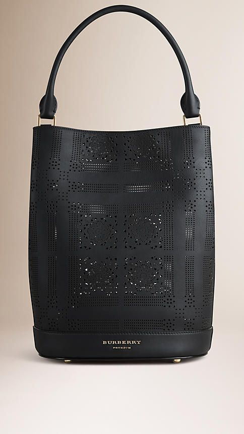 Preto Bolsa The Bucket de couro com padrão perfurado - Imagem 1
