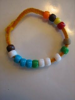Thanksgiving bracelet tells the pilgrim story through the beaded colors.