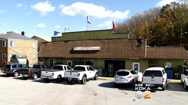 Update on Army Navy Surplus Bust at Washington Co. http://pittsburgh.cbslocal.com/2014/10/23/charges-filed-in-washington-co-army-navy-surplus-store-bust/ (Photo Credit: KDKA)