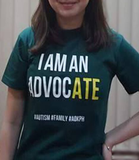 """These cotton crewneck shirts bear celebrate the unity of families who live and love with autism.    """"I am an AdvocATE"""". Sisters of persons with autism are often their """"partners in crime"""", their protectors against bullies and important advocates for genuine inclusion. #siblings."""