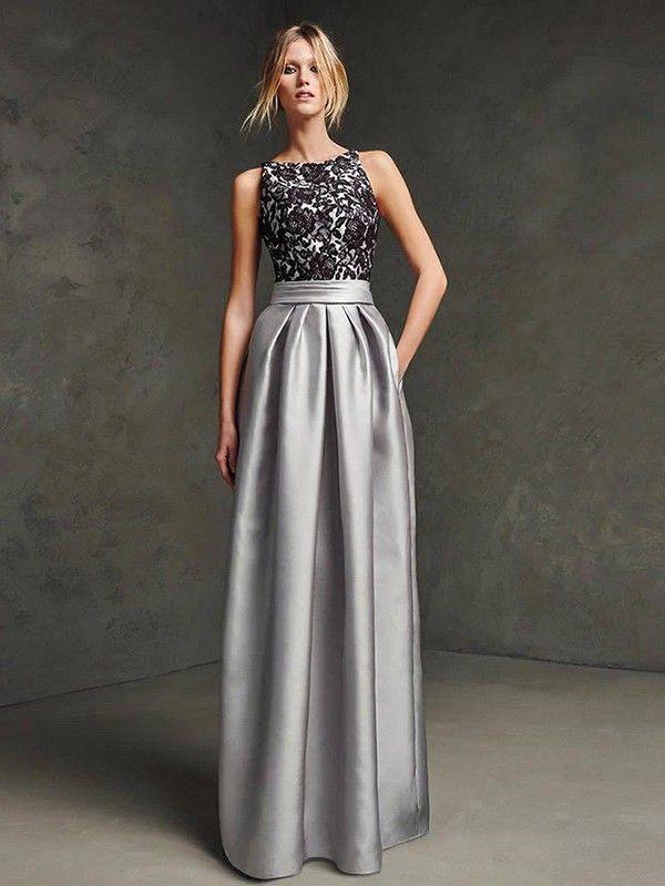 A-Line/Princess Scoop Sleeveless Satin Floor-Length Dresses