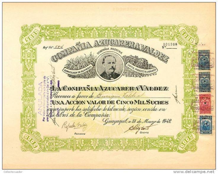 AZP3ECU005 Compaňia Azucarera Valdez 5000Sucres 1942