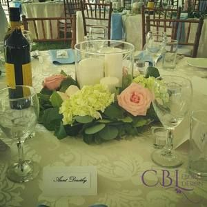 CBL Floral Design, Barrie, ON - Wedding Party Florals/Bridal Party Bouquets/ Wedding Flowers/ Bridal Bouquets - #weddingbouquets #bridalbouquets #weddingpartyflorals #weddingflowers #handtiedbouquets #cblfloraldesign #weddingphotographer #floraldesigner www.cblfloraldesign.ca Centerpieces with silver dollar eucalyptus and roses and mini hydrangeas - Sam and Shanlee's Gallery at www.cblfloraldesign.ca in Barrie, ON