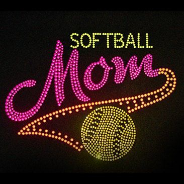 Softball Mom Neon Rhinestud Shirt by BRITTANYSBOWSNMORE on Etsy, $22.00
