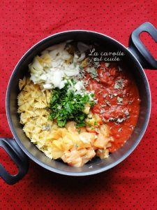 Recette one pot pasta : poulet, tomate.