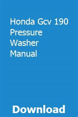 Honda Gcv 190 Pressure Washer Manual download pdf