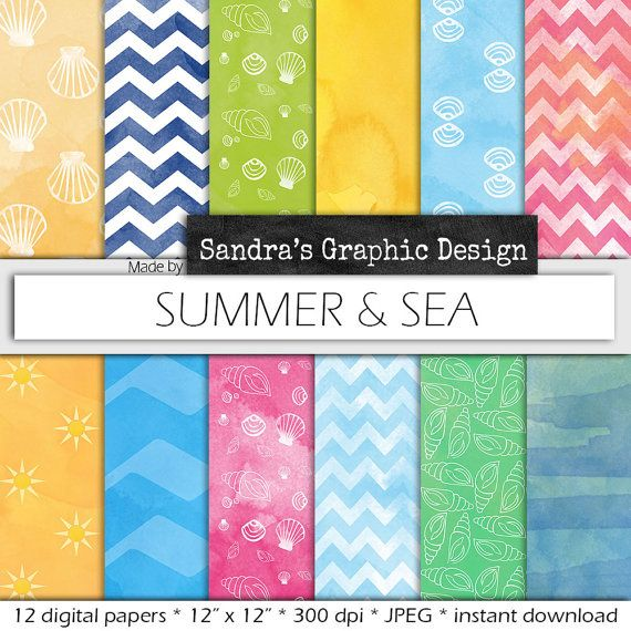"""Watercolor digital paper: """"WATERCOLOR SUMMER and SEA"""" with watercolor digital paper backgrounds with summer and sea patterns (615)"""