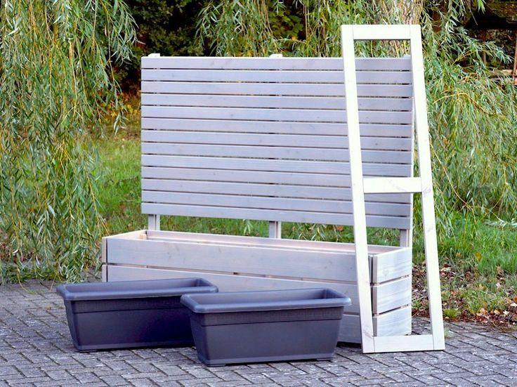 Pflankasten mit Sichtschutz Holz, Oberfläche Transparent