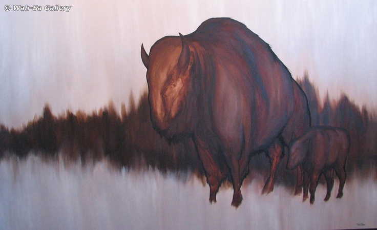 Ted Oster Untitled Bison and Calf