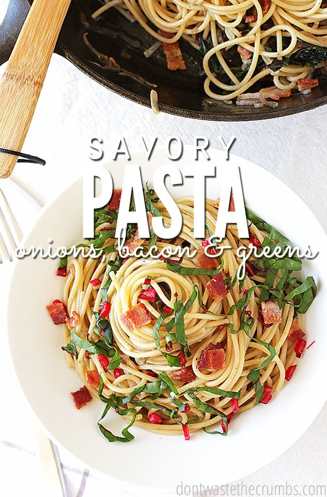 My whole family loves this savory pasta with onions, bacon and greens. It's an easy recipe that's ready in just 30 minutes, and costs less than $4 to make! And it's so delicious! Definitely a keeper in our house! :: DontWastetheCrumbs.com