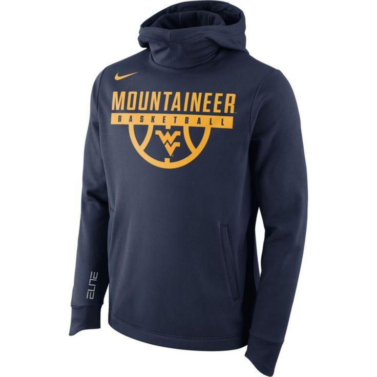 Nike Men's West Virginia Mountaineers Blue Basketball Performance Elite Therma-FIT Hoodie, Size: Medium, Team