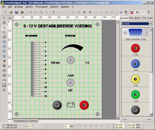 Front Designer, frontplaten ontwerpen op de PC. Front Designer is een nauwkeurig stuk grafisch gereedschap met als specialiteit het zo gemakkelijk en snel mogelijk ontwerpen van frontplaten voor elektronische apparatuur. Een van de opties is de 'Scale assistant', waarmee u in no time schaalverdelingen rond draaipotentiometers, draaischakelaars en schuifpotentiometers kunt ontwerpen. Het programma genereert desgewenst HPGL-bestanden voor het aansturen van frees-, snij- en graveermachines.