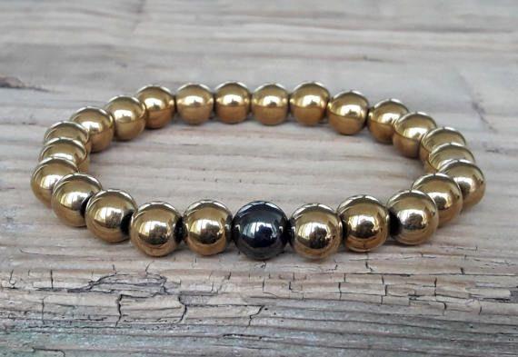 Gold pyrite bracelet hematite power bracelet pyrite healing
