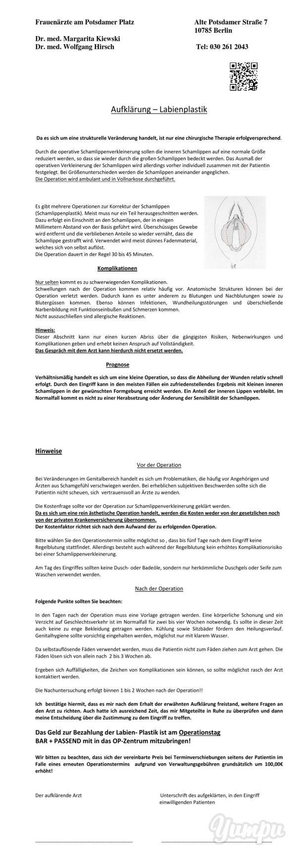 http://www.frauenaerzte-am-potsdamer-platz.de/Schamlippenplastik Aufklärung – Labienplastik - Magazine with 3 pages: