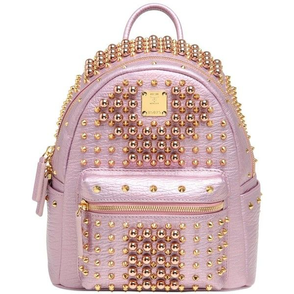 Mcm Women Mini Stark Studded Leather Backpack (£1,815) ❤ liked on Polyvore featuring bags, backpacks, pink, mcm backpack, mcm bag, miniature backpack, pink bag and mcm