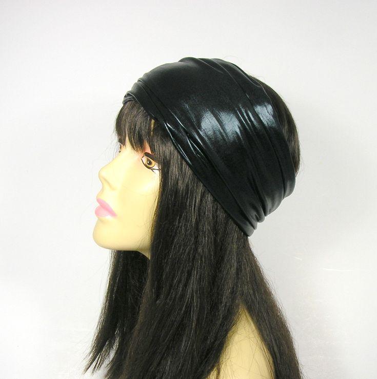 Mens Black Headband Rocker Black Headband Goth Head Wraps Faux Leather Black Head Wraps Biker Bandanas Biker Headbands Chef's Headgear by LooptheLoop on Etsy