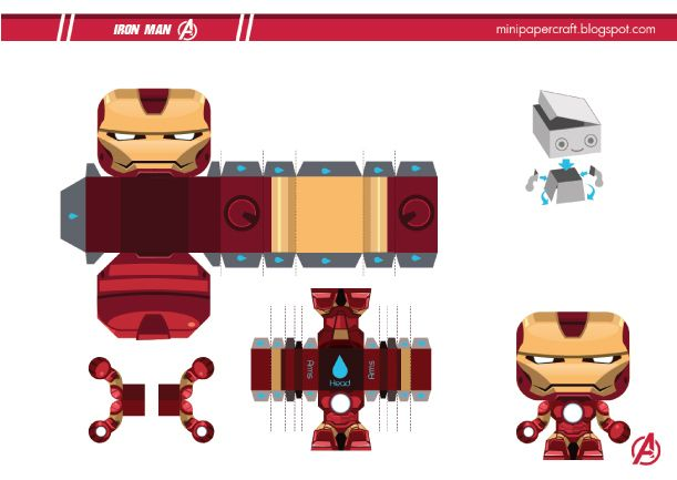 Blog Paper Toy papertoy Mini Iron Man template preview Mini Iron Man de Gus Santome