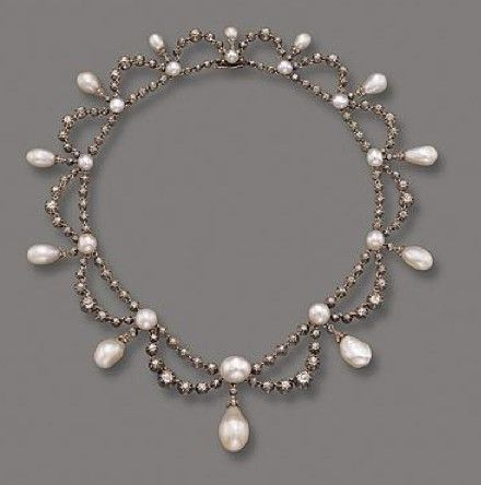 NATURAL PEARL AND DIAMOND NECKLACE, FRENCH, C IRCA 1860. http://www.annabelchaffer.com/categories/Designer-Jewelery/
