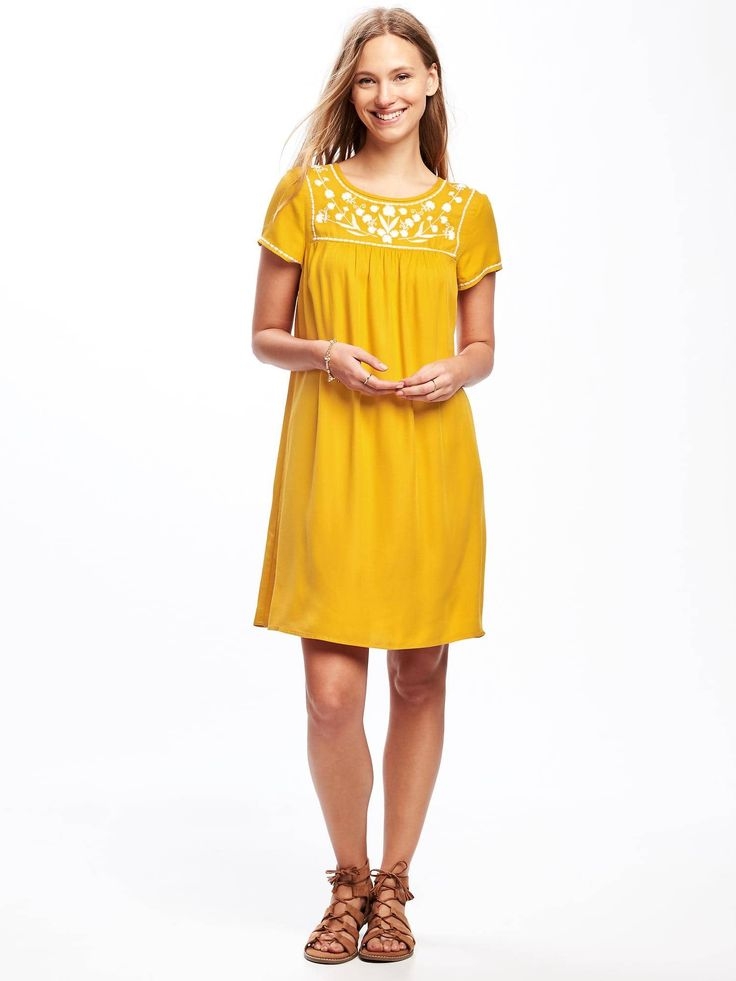 Embroidered-Yoke Shift Dress for Women  | Old Navy