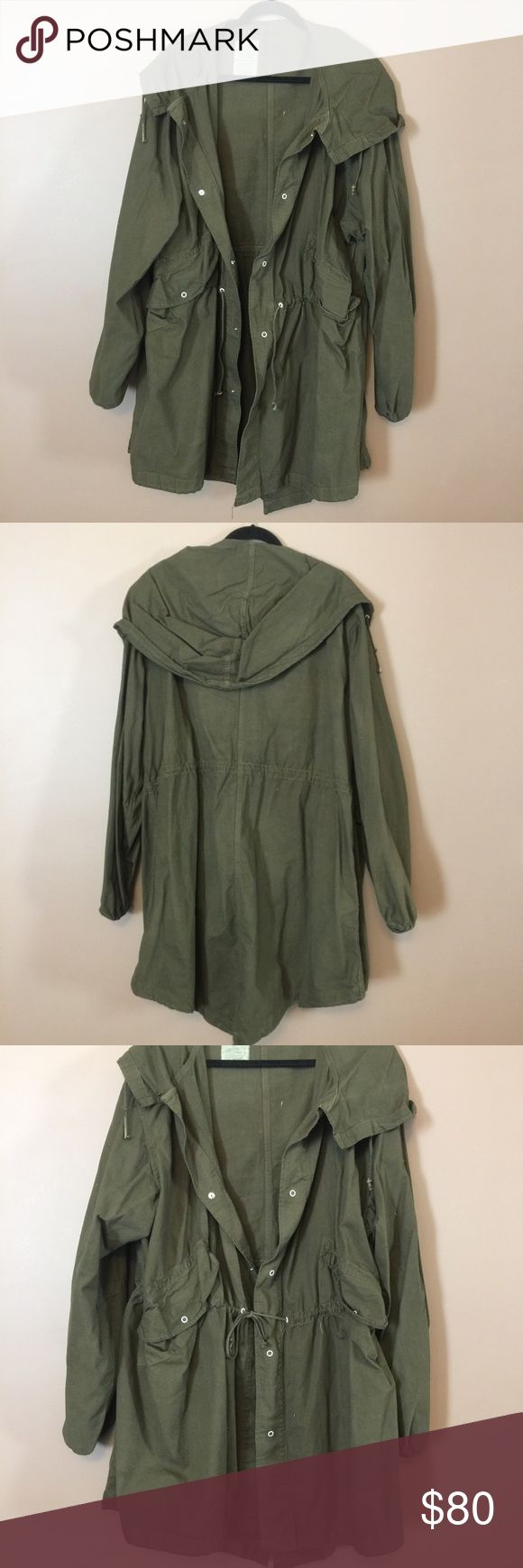 Urban Outfitters Oversized Trench Utility Jacket So comfortable, very oversized, looks great with the waist cinched with the draw string, army green Urban Outfitters Jackets & Coats Utility Jackets