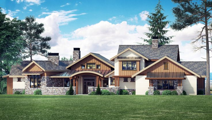 Mountain Elegance with Arched Entry - 95020RW | Craftsman, Mountain, Exclusive, Luxury, 1st Floor Master Suite, Butler Walk-in Pantry, CAD Available, Courtyard, Den-Office-Library-Study, Loft, Media-Game-Home Theater, PDF, Corner Lot, Sloping Lot | Architectural Designs