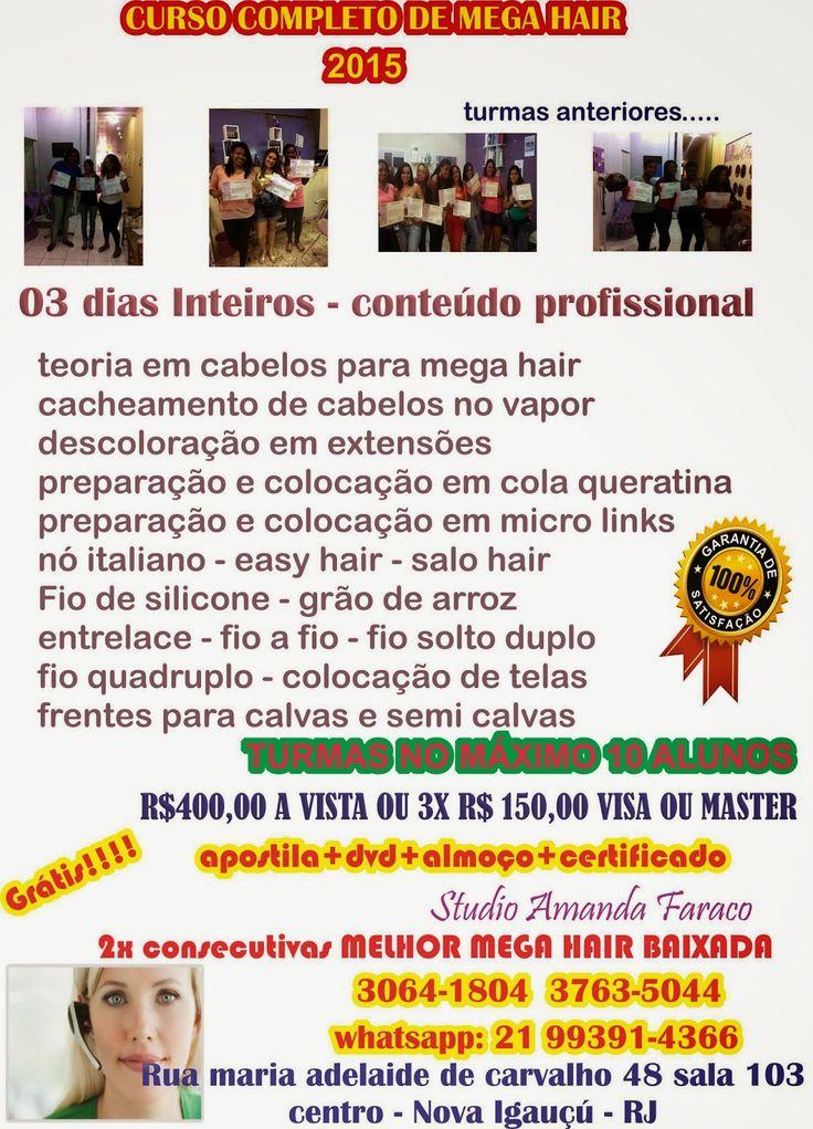 curso completo mega hair : AGENDA 2015