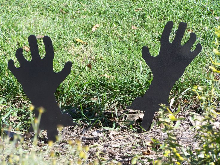Zombie Hands! Halloween Yard Decorations. Halloween Yard Art! by FOXHOLLOWMETALWORKS on Etsy https://www.etsy.com/listing/163649130/zombie-hands-halloween-yard-decorations