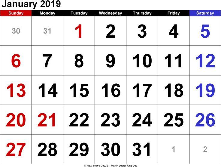 Free January Calendar 2019 January 2019 Calendar Pinterest