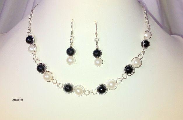 Bijoux, Parure Mariage 2 pièces Nacre Agate noir et blanc est une création orginale de Artecoeur sur DaWanda